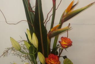 4-  oiseau,anthurium,lys salix,monstéra, rose,125.00$
